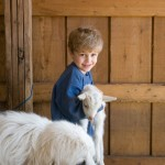 Dog with Smiling boy holding a Kid Goat Photo by Steve Scardina.