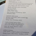 photo of dinner menu—2011 Outstanding in the Field Dinner—photo by The Farm Chicks