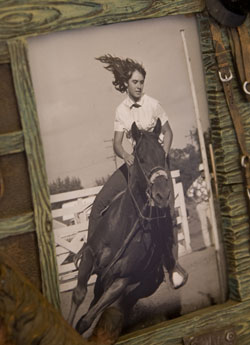 Photo of Joan Monteillet Riding Her Horse At 13 Years Old