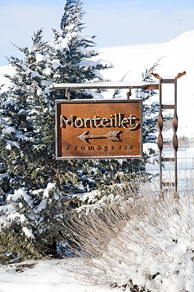 Monteillet Fromagerie Sign in Winter Photo by Steve Scardina.