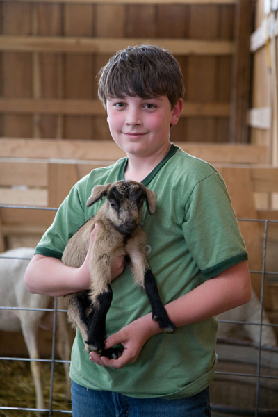 Boy and Kid Goat - A New Friend Photo by Steve Scardina.